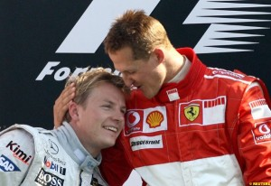 Michael Schumacher very happy Raikkonen is back