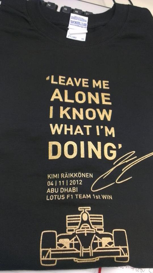 Kimi treats Lotus team to radio message t-shirts – KIMI ...