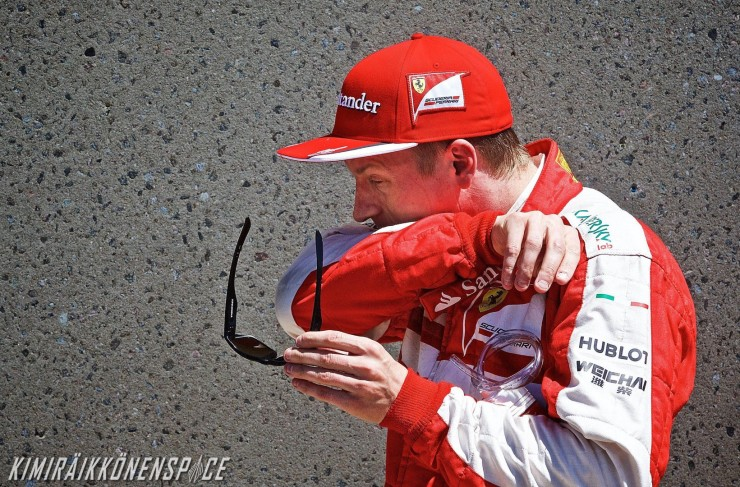 epa04786744 Finnish Formula One driver Kimi Raikkonen of Scuderia Ferrari wipes his face after finishing in third place during the qualification session at the Gilles-Villeneuve circuit in Montreal, Canada, 06 June 2015. The 2015 Canada Formula One Grand Prix will take place on 07 June.  EPA/ANDRE PICHETTE